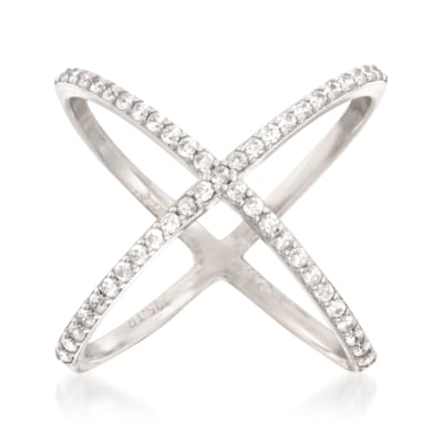 .70 ct. t.w. CZ Open Crisscross Ring in Sterling Silver