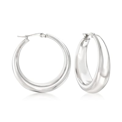 Sterling Silver Graduated Hoop Earrings