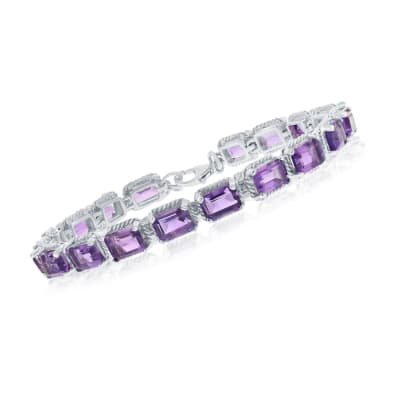 16.00 ct. t.w. Amethyst Bracelet on Sterling Silver