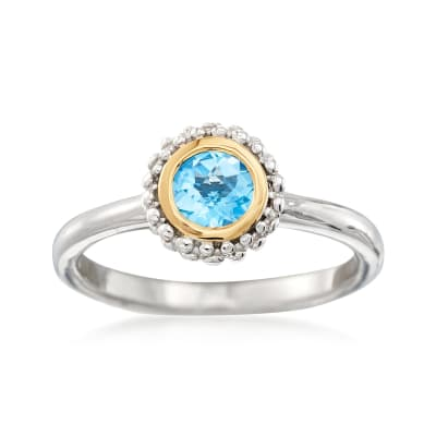 "Phillip Gavriel ""Popcorn"" .49 Carat Blue Topaz Ring in Sterling Silver and 18kt Gold"