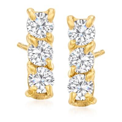 .24 ct. t.w. Diamond Bar Stud Earrings in 14kt Yellow Gold