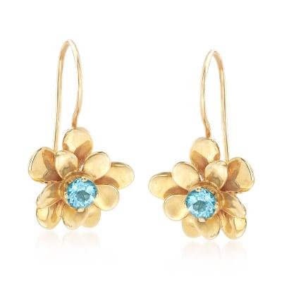 .50 ct. t.w. Blue Topaz Flower Drop Earrings in 14kt Yellow Gold