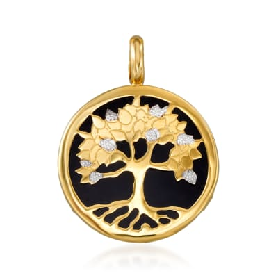 Black Onyx Tree of Life Pendant in 14kt Yellow Gold