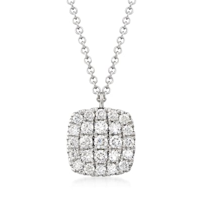 Gabriel Designs .50 ct. t.w. Diamond Square Pendant Necklace in 14kt White Gold