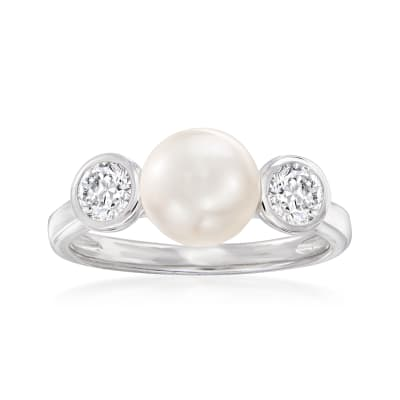 7.5-8mm Cultured Pearl and .40 ct. t.w. CZ Ring in Sterling Silver