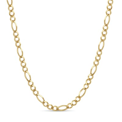 Italian Men's 18kt Gold Over Sterling 4.3mm Figaro Chain