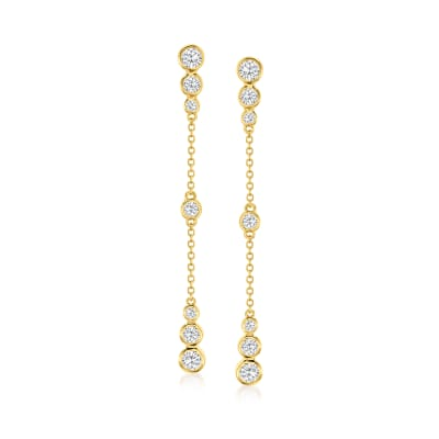 1.20 ct. t.w. CZ Drop Earrings in 18kt Gold Over Sterling