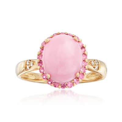 Pink Opal and .20 ct. t.w. Pink Sapphire Ring with Diamond Accents in 14kt Yellow Gold