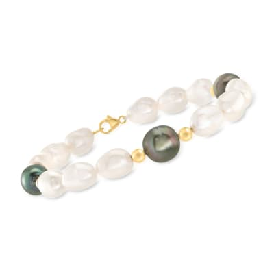 Black Cultured Tahitian Pearl and Cultured Semi-Baroque Pearl Bracelet with 14kt Yellow Gold