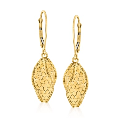 Italian 14kt Yellow Gold Honeycomb Drop Earrings