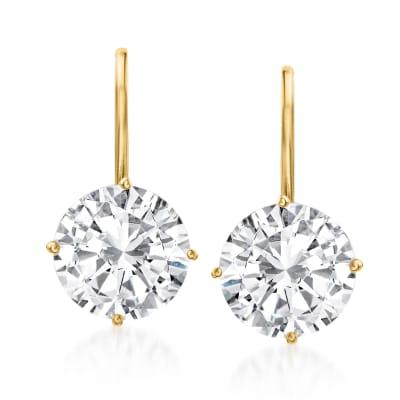 4.00 ct. t.w. CZ Drop Earrings in 14kt Yellow Gold