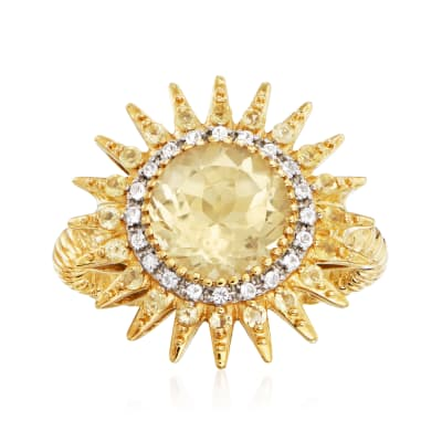 2.60 ct. t.w. Citrine and .10 ct. t.w. Diamond Sun Ring in 18kt Gold Over Sterling