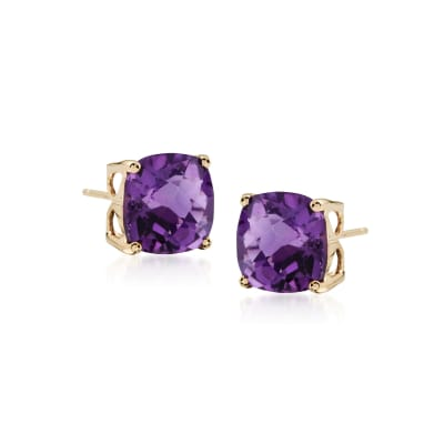 3.90 ct. t.w. Amethyst Stud Earrings in 14kt Yellow Gold