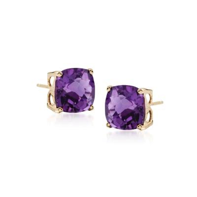 3.90 ct. t.w. Amethyst Stud Earrings in 14kt Yellow Gold
