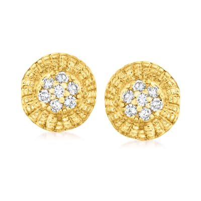 C. 1980 Vintage .55 ct. t.w. Diamond Circle Frame Earrings in 14kt Yellow Gold