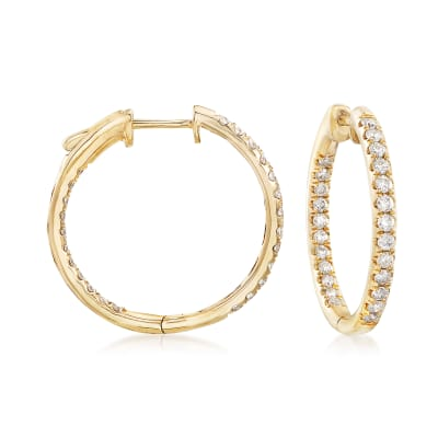 1.00 ct. t.w. Inside-Outside Diamond Hoop Earrings in 14kt Yellow Gold