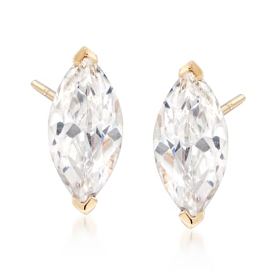1.00 ct. t.w. Marquise CZ Stud Earrings in 14kt Yellow Gold