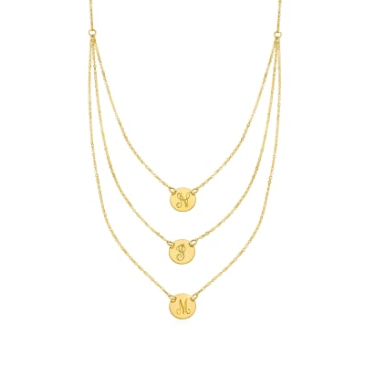 Italian 14kt Yellow Gold Single-Initial Disc Layered Necklace