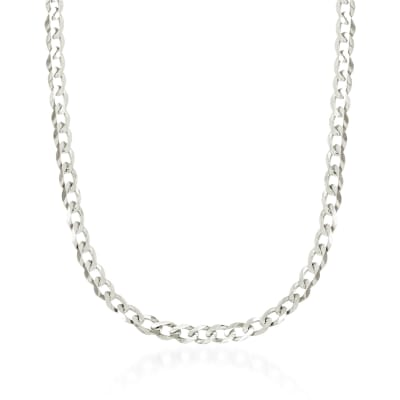 4.9mm 14kt White Gold Curb-Link Chain Necklace