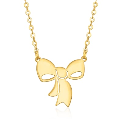 Italian 14kt Yellow Gold Bow Necklace