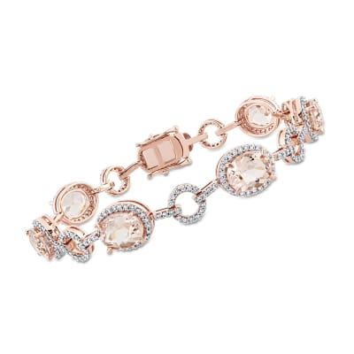 11.00 ct. t.w. Morganite and 1.50 ct. t.w. Diamond Bracelet in 14kt Rose Gold