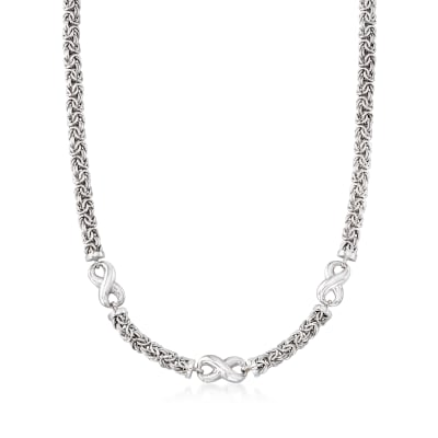 Sterling Silver Byzantine Infinity Station Necklace