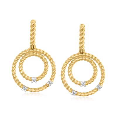 "Phillip Gavriel ""Italian Cable"" 14kt Yellow Gold Multi-Circle Drop Earrings with Diamond Accents"