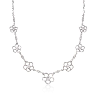 3.60 ct. t.w. Diamond Flower Station Necklace in 14kt White Gold