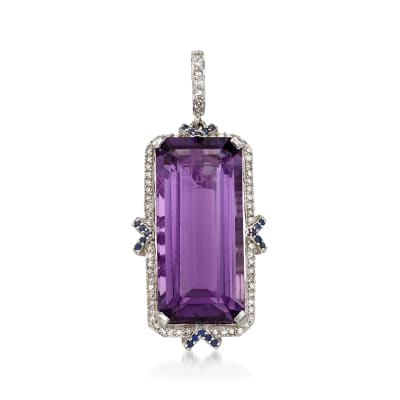 12.00 Carat Amethyst and .17 ct. t.w. Diamond Pendant in 14kt White Gold with Sapphire Accents
