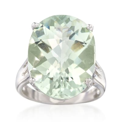 14.00 Carat Prasiolite Ring in Sterling Silver