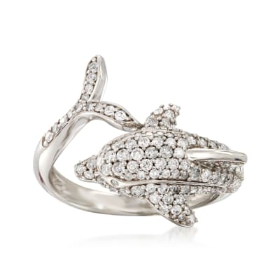1.00 ct. t.w. Diamond Dolphin Bypass Ring in Sterling Silver