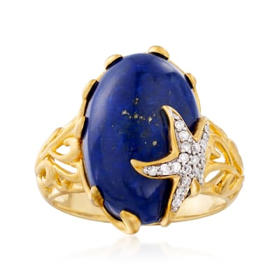 Lapis and .10 ct. t.w. Diamond Starfish Ring in 18kt Gold Over Sterling