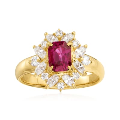 C. 2000 Vintage 1.21 Carat Ruby and .77 ct. t.w. Diamond Ring in 18kt Yellow Gold