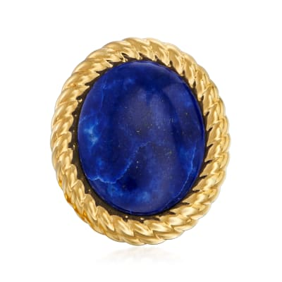 Italian Andiamo Lapis Ring in 14kt Yellow Gold Over Resin