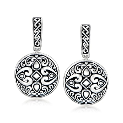 Sterling Silver Bali-Style Drop Earrings