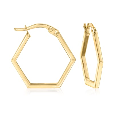 14kt Yellow Gold Hexagon Hoop Earrings