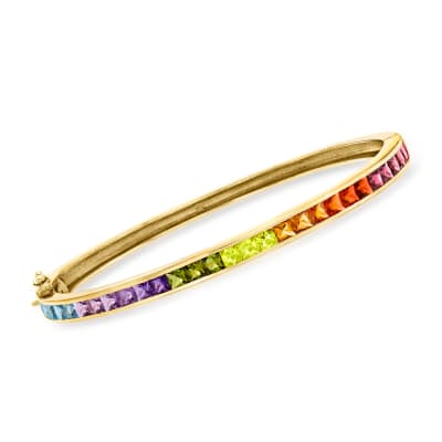 C. 1980 Vintage 4.45 ct. t.w. Multi-Gemstone Bangle Bracelet in 18kt Yellow Gold