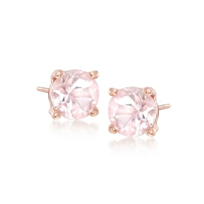 .70 ct. t.w. Morganite Stud Earrings in 18kt Rose Gold Over Sterling