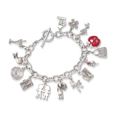 C. 1990 Vintage .48 ct. t.w. Diamond 14kt White Gold Charm Bracelet with Ruby Accent