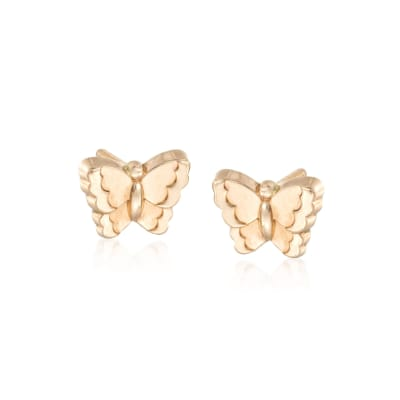 Child's 14kt Yellow Gold Butterfly Earrings