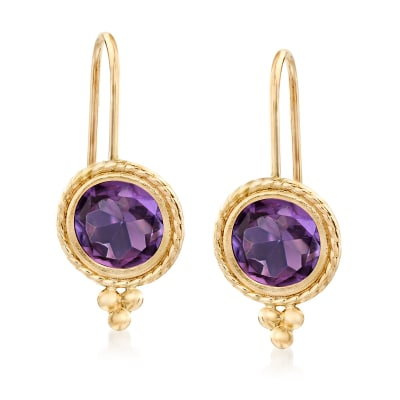 1.40 ct. t.w. Amethyst Drop Earrings in 14kt Yellow Gold