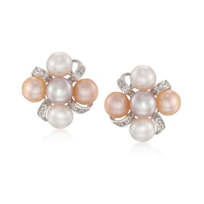 7-7.5mm Multicolored Cultured Pearl Earrings with Diamonds in Sterling Silver