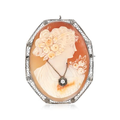 C. 1940 Vintage Carved Pink Shell Cameo Pin/Pendant with Diamond Accent in 14kt White Gold
