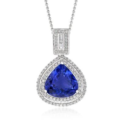 8.75 Carat Tanzanite and .93 ct. t.w. Diamond Pendant Necklace in 18kt White Gold