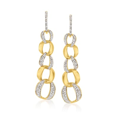 .51 ct. t.w. Diamond Cuban-Link Hoop Drop Earrings in 18kt Gold Over Sterling