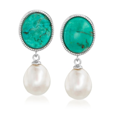 8.5-9mm Cultured Pearl and Turquoise Drop Earrings in Sterling Silver