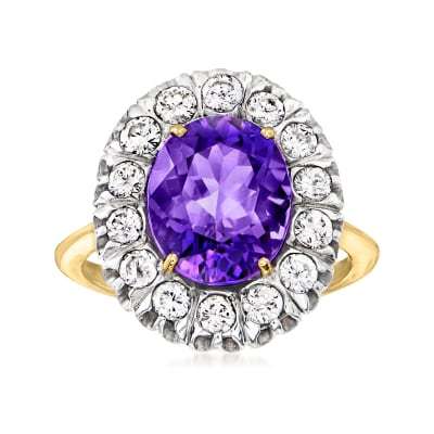 C. 1980 Vintage 4.38 Carat Amethyst Ring with 1.40 ct. t.w. Diamonds in 14kt Yellow Gold