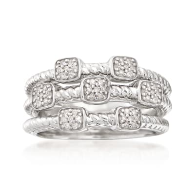 .20 ct. t.w. Diamond Jewelry Set: Three Rings in Sterling Silver