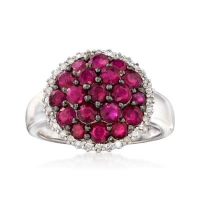 2.50 ct. t.w. Ruby and .12 ct. t.w. Diamond Cluster Ring in Sterling Silver