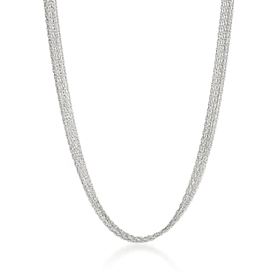 Italian 18kt White Gold Six-Strand Rope Chain Necklace